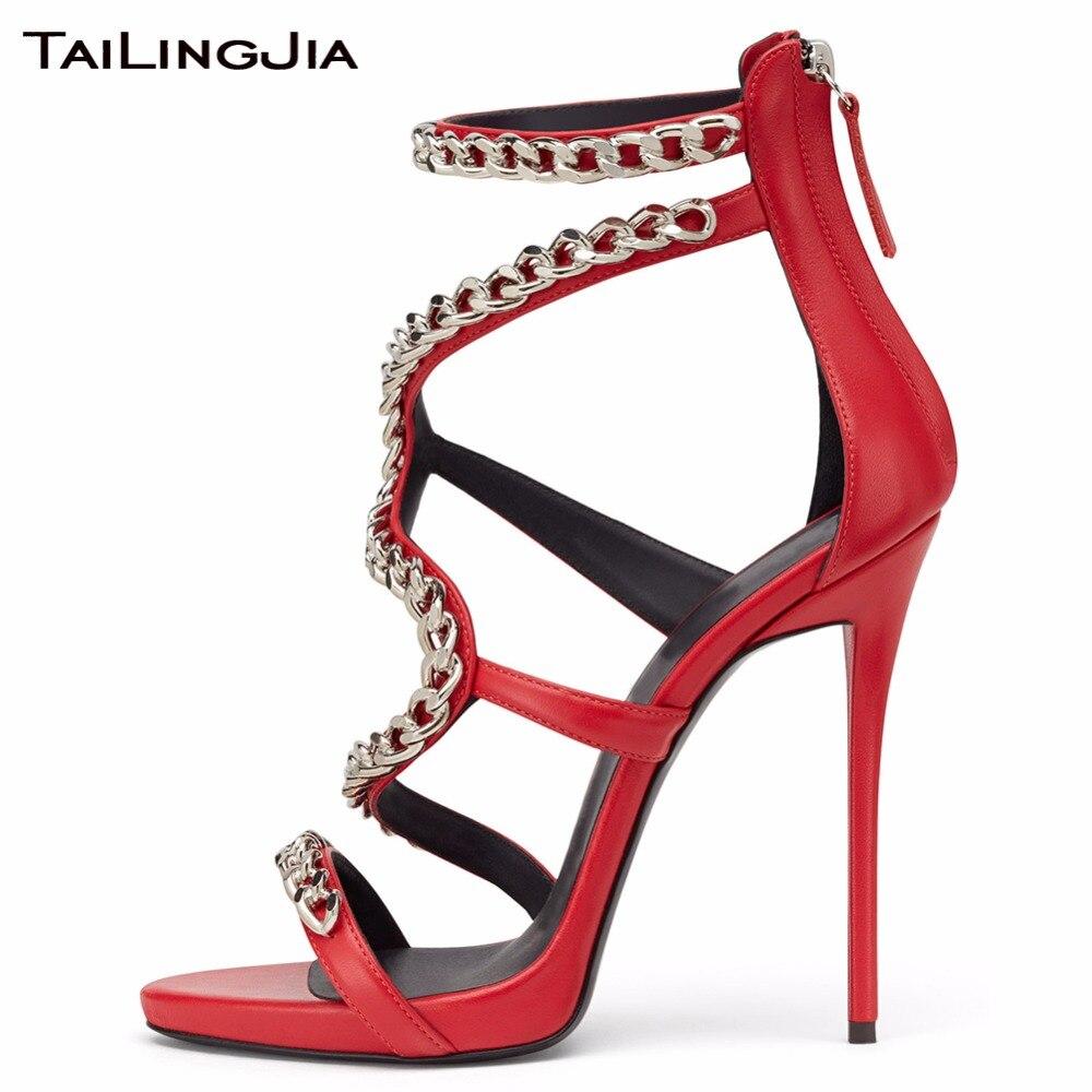 Nouvelle red Un White Dames Talons Sandales Design black Bout Argent Bottes Creux Rome Ouvert Coloré Luxe Zipper Avec À D'été Or Chaîne De Mode Haute rxqrOS