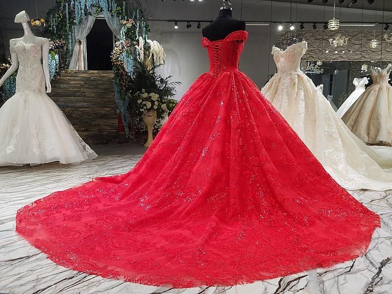 ball gown red wedding dress