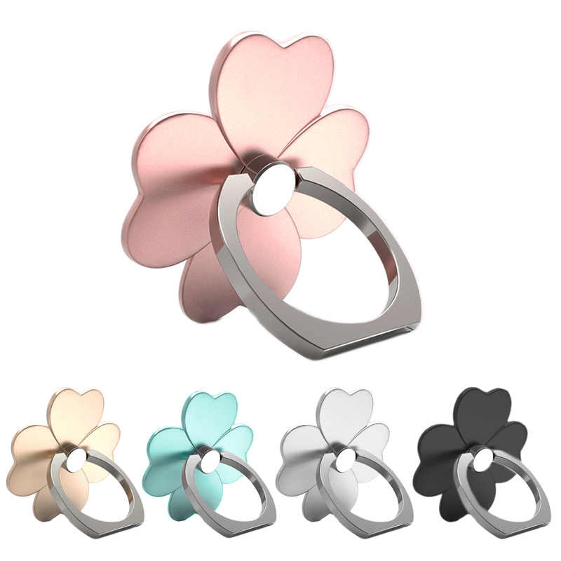 For Iphone Universal Ring Hook Bracket Phone Ring Cartoon Clover 360 Degree Finger Ring Mobile Phone Holder Stand Socket