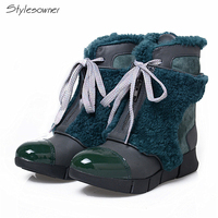 Stylesowner Fashion Winter Warm Round Toe Snow Women Boots Brief Lace Up Decoration Wedges Genuine Leather Ankle Boots For Girls