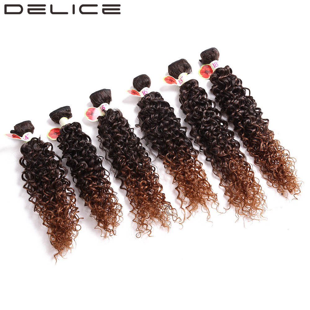 DELICE 14-18inch 6pcs/pack Women's Kinky Curly Hair Weaving Full Head Synthetic Weave Extensions Weft Bundles Ombre Blonde Color