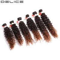 DELICE 14 18inch 6pcs Pack Women S Kinky Curly Hair Weaving Full Head Synthetic Weave Extensions