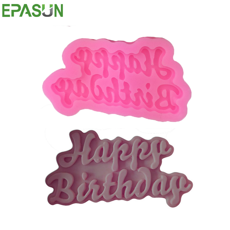 3D Silicone Soap Mold Happy Birthday Letter Diy Soap Making Cake Decorating Tools Chocolate Soap Moule Savon Mould