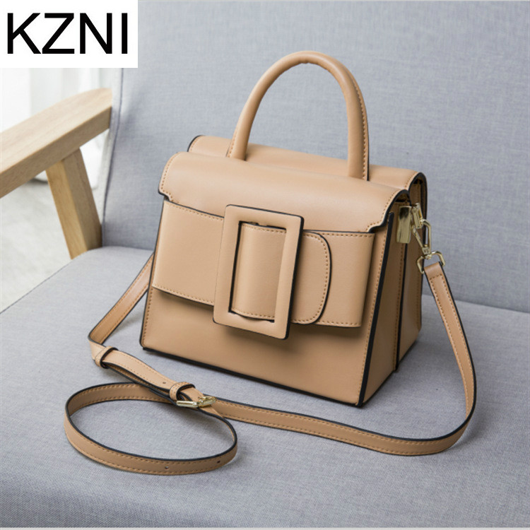 KZNI Genuine Leather Purse Crossbody Shoulder Women Bag Clutch Female Handbags Sac a Main Femme De Marque L030920 women genuine leather character embossed day clutches wristlet long wallets chains hand bag female shoulder clutch crossbody bag