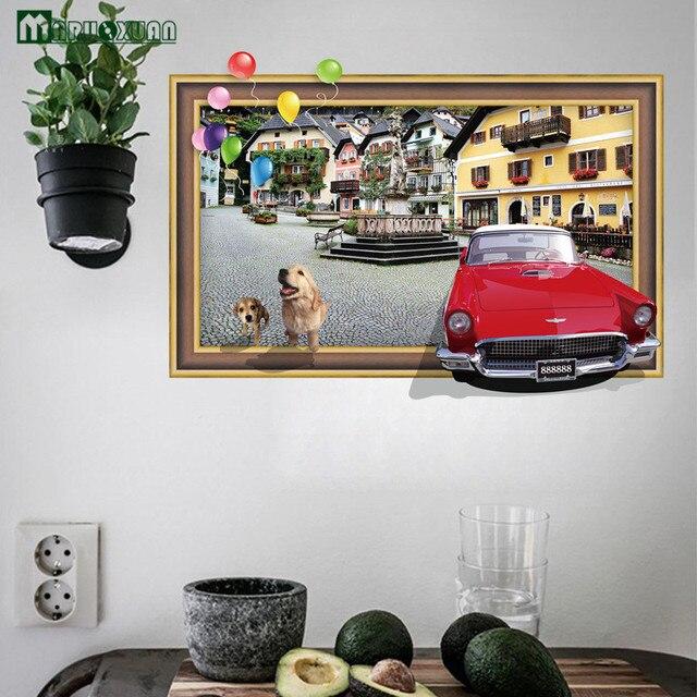New 3D Fake Window Corner Car Puppy Sticker Removable Bedroom Living Room  Bathroom Waterproof Background Decorative