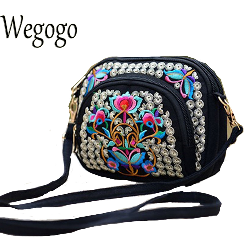 Women Handbag Double Face Embroidery Crossbody Bag Boho Thai Embroidered Messenger Shoulder Bag Small Cltuch Bag Sac a Dos Femme
