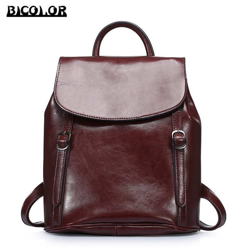 ФОТО BICOLOR Women Backbag High Quality Vintage Style Genuine Leather Backpacks for College Preppy Style School Bags for Girls