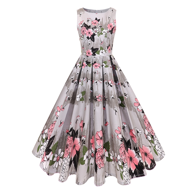 Women Vintage Summer Dress Cotton Floral Print 50s/60s Vintage Dress Gray O-Neck Sleeveless Elegant Party Dresses Sundress