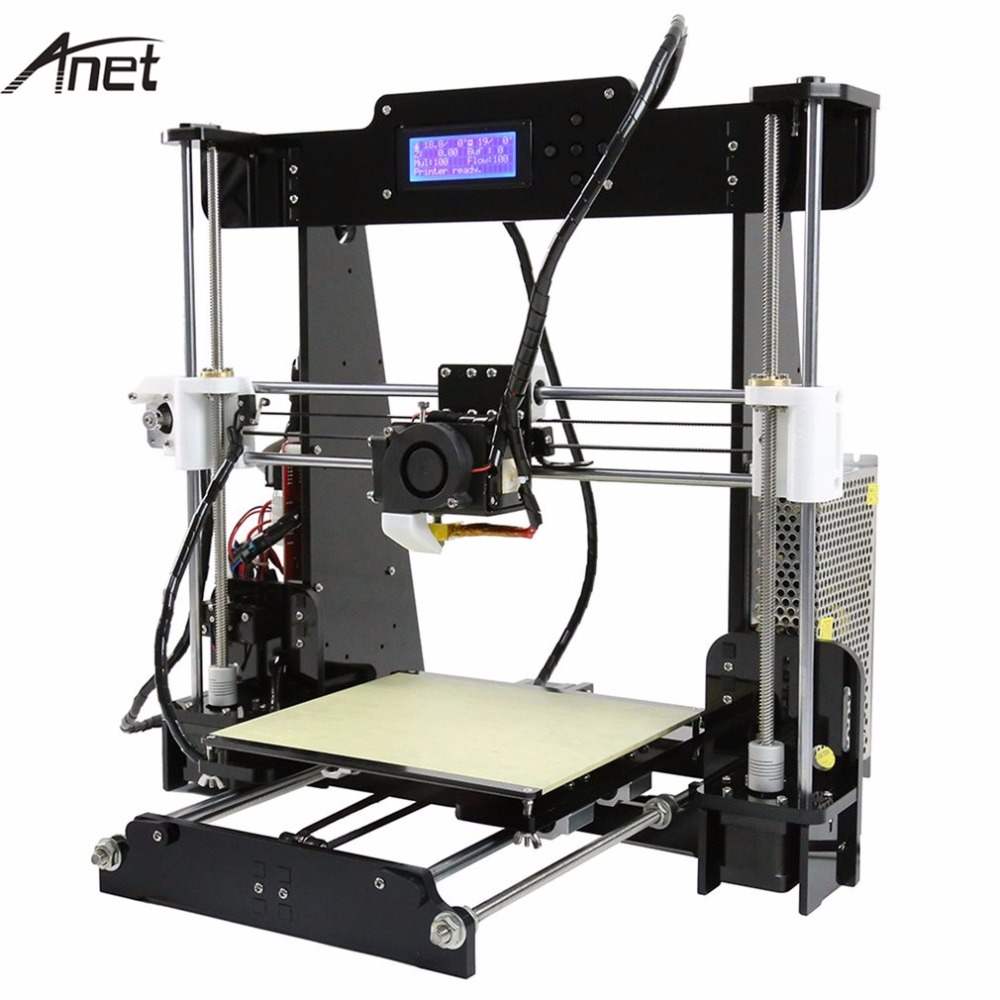 ANET Original 3D Printer DIY 3D Color Printing Acrylic Frame Mechanical Kit Print 3 Materials LCD Filament Aluminum Structure full metal frame heated bed 3d printer professional 3d color printer with 2gb sd card lcd 40m filament for free
