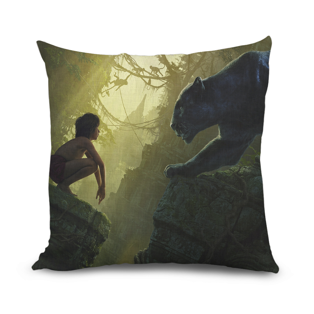 The Jungle Book Pattern Cushion Cover Cartoon Sofa Pillow Cover Fashion Art Decorative Pillowcase Home Decor Kids Gifts 45x45cm