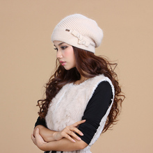 Купить с кэшбэком  2019 New Women Hats Winter Thicken Double Layer Thermal Knitted Hat Elegant Casual Wool Cap Skullies Beanies 2856