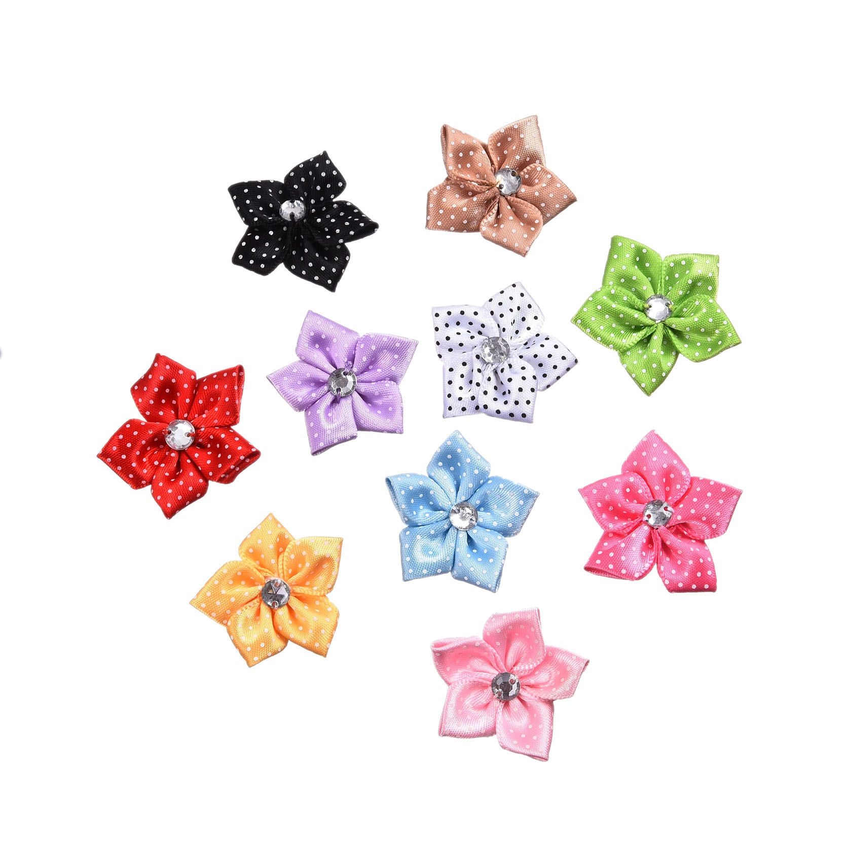 50pcs mixed rhinestone satin ribbon fabric flowers diy for Applique decoration