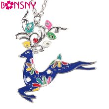Bonsny Maxi Statement Chain 2016 Colorful Stag Deer Necklace Enamel Jewelry Pendant Alloy Animal Charm Brand For Women Girl New(China)
