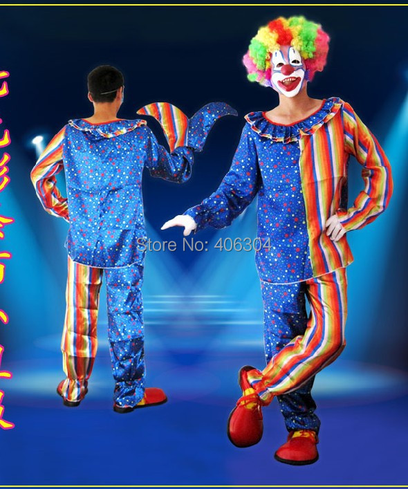 Free shipping,high quality Cosplay adult party Clown costume clown clothes trouses colorful wig gloves mask