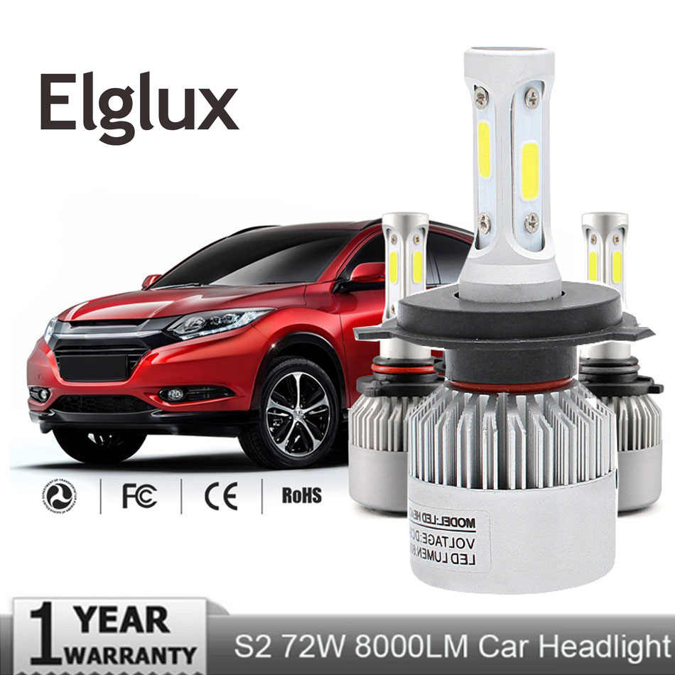 Elglux Super Bright Car Headlight H7 LED H4 H1 H3 H11 H13 9004 9005 9006 9007 72W 8000LM 12V Auto Headlamp 6500K Light Bulb