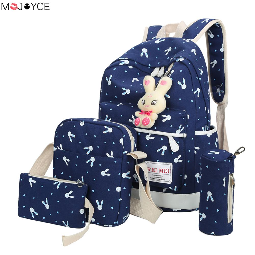 4Pcs/Sets 2018 Women Canvas Printing Backpacks Cartoon Rabbit School Bags for Teenage Girls Cute Trave Shoulder Bag for women tangimp drawstring backpacks embroidery dear my universe cherry rocket printing canvas softback man women harajuku bags 2018