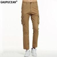 Gaupucean Homme Coton Droite Pantalon Occasionnel Qualité Armée Vert Kaki Noir Pleine Longueur Poches Mode Hommes Chino Cargo Pantalon