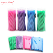 NEWCOME High Quality Colorful Durable Micro Disposable Eyelash Glue Cotton Cleaning Stick Mascara Brush 100Pcs/Pack for Make Up