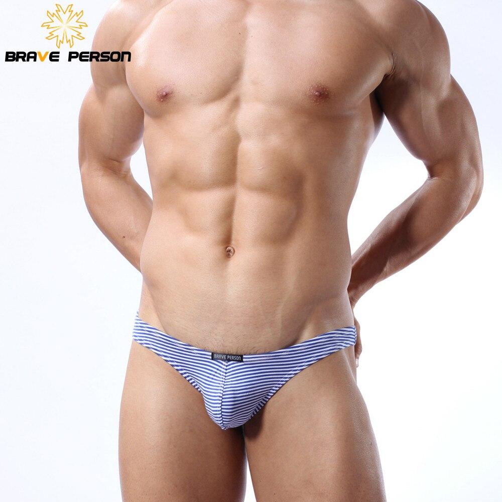 Brave Person Brand Spodní prádlo Pánské sexy pletení Proužkované kalhotky Bikiny Bavlna Muži G-string Tanga Tanga Jockstrap B1123
