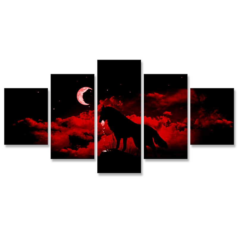 Red Night Moon Wolf Wall Art Painting 5 Pcs Art Print Modular Pictures Wall Canvas Decoration Decor Paintings