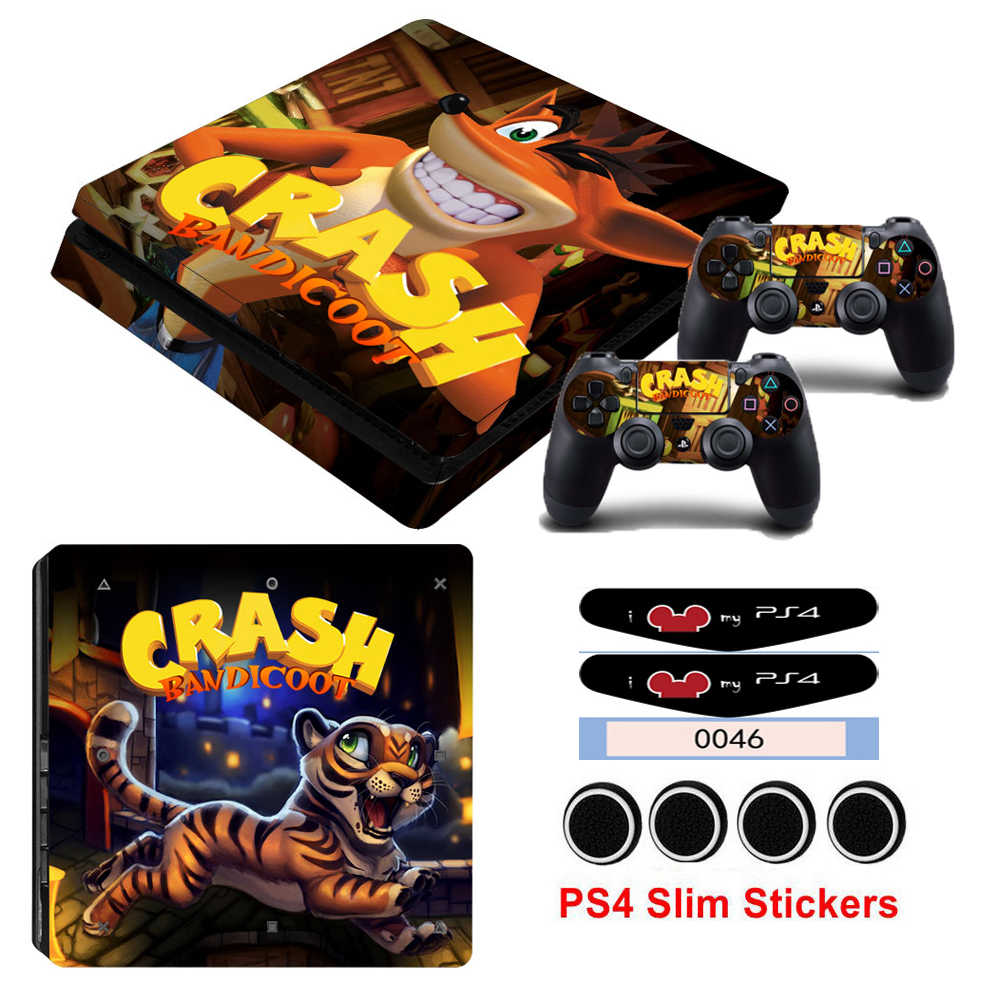 Hot Sale Crash Bandicoot N Skin Sticker Cover For Playstation 4 Slim PS4  Slim Console Stickers and Decals Of 2 Controllers