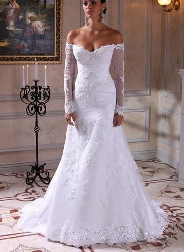 Indiano de manga comprida vestidos de casamento fora do for Over the shoulder wedding dress