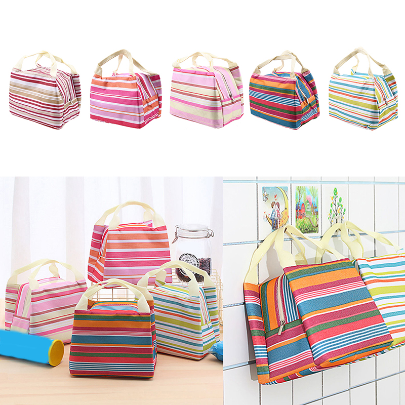 Portable Insulated Thermal Lunch Bag Colorful Stripe Cooler Food Picnic Hiking Snacks Bento Box Storage Bag for Women Kids Men