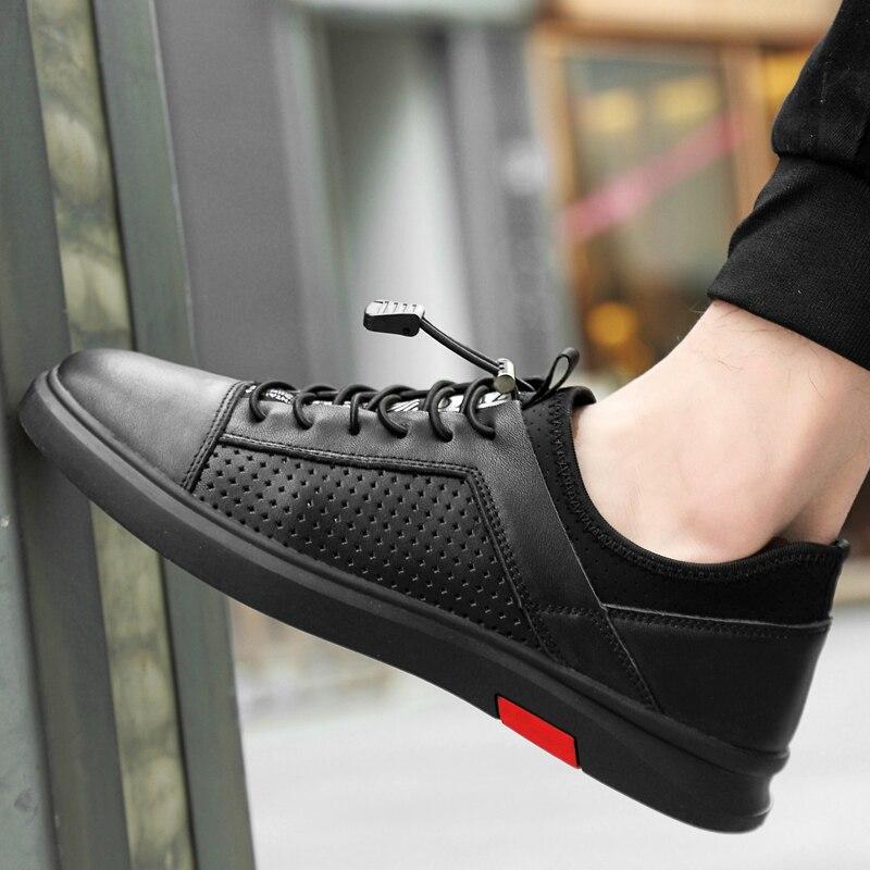Homme en cuir véritable chaussures décontractées pour hommes chaussures évider respirant en plein air baskets sans lacet appartements respirant Ferrary chaussures 5