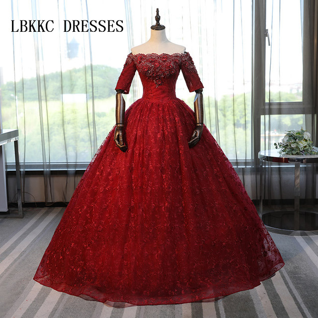 Half Sleeves Burgundy Lace Quinceanera Dresses Masquerade Ball Gown