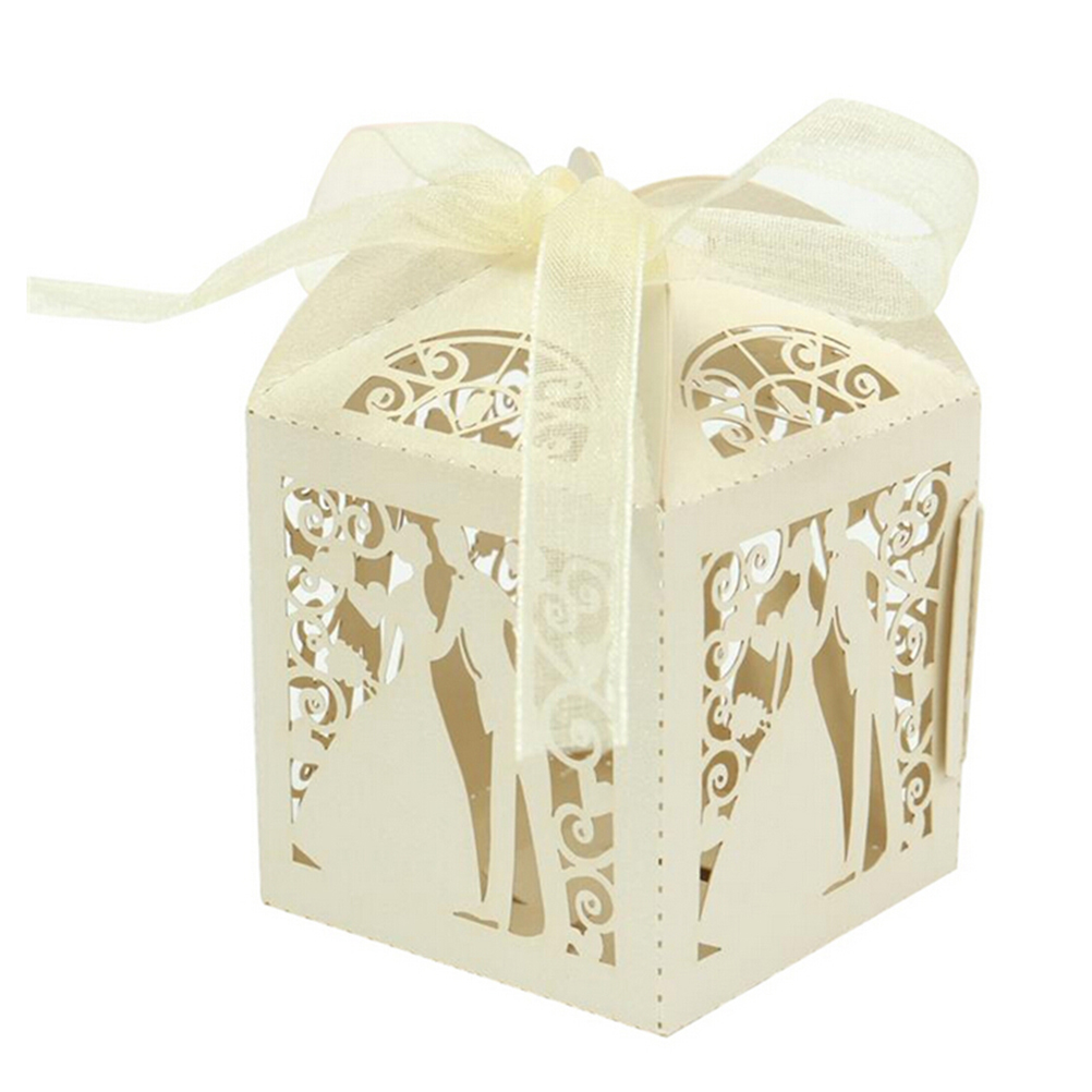 10pcs bride and groom laser cut candy box wedding favor box party ...
