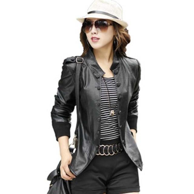 904272c0f2321 2016 Nueva chaqueta de cuero de las mujeres señoras de estilo de moda de  manga larga