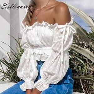 Image 3 - Женская блузка Sollinarry, белая блузка с вырезом лодочкой и рукавами фонариками, 2019
