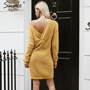 Image 2 - Simplee Off spalla lavorato a maglia sexy del vestito Backless croce di modo manica lunga vestiti delle donne 2018 Autunno inverno maglione casuale del vestito