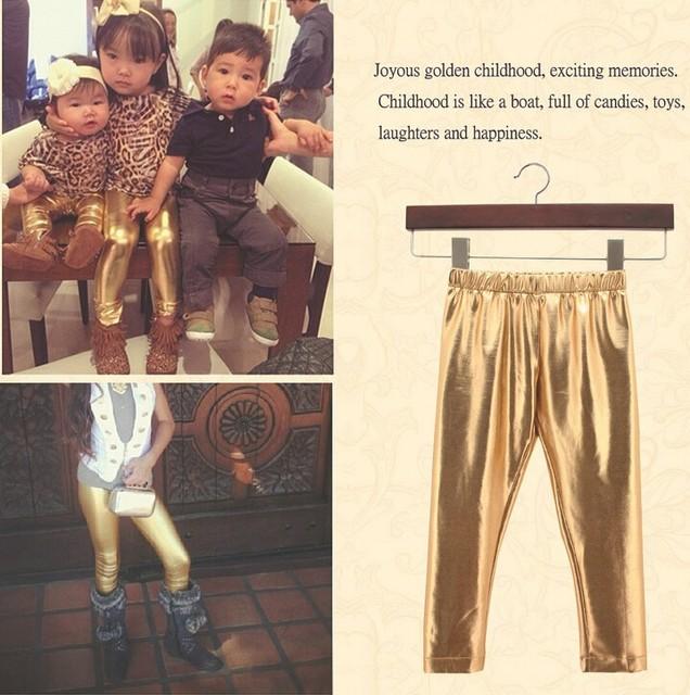 Menina Leggings Criança Leggings Coloridos Brilhantes Revestimento PU Calças Para 1 ~ 7 Anos Bebê