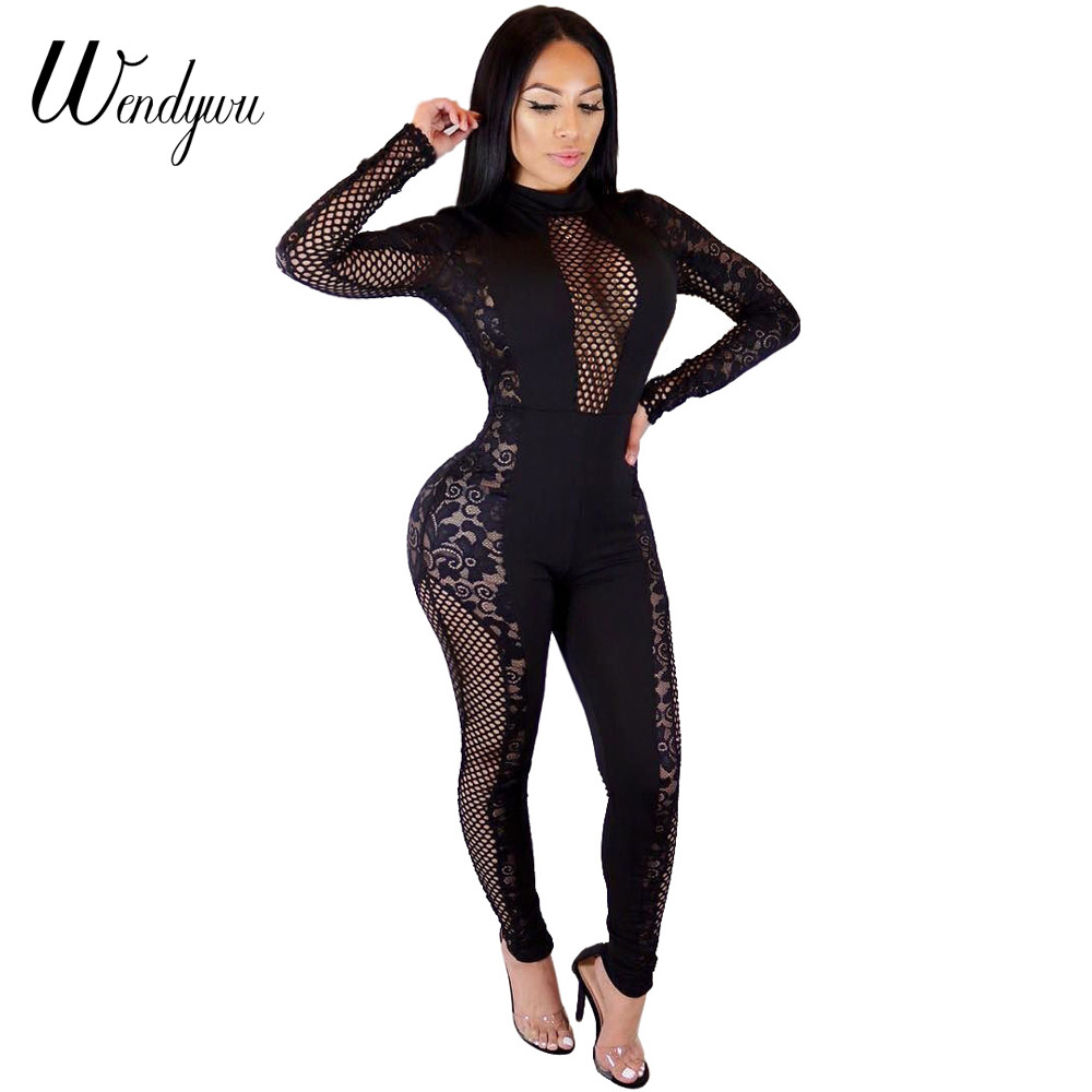 Wendywu 2018 Sexy Women Jumpsuit O-Neck Long Sleeve Mesh Patchwork Jumpsuits Lace See Th ...
