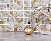 Free shipping!Gold flower pattern glass mosaic tiles,Kitchen backsplash Bathroom home art design decor wallpaper sticker,LSTC025