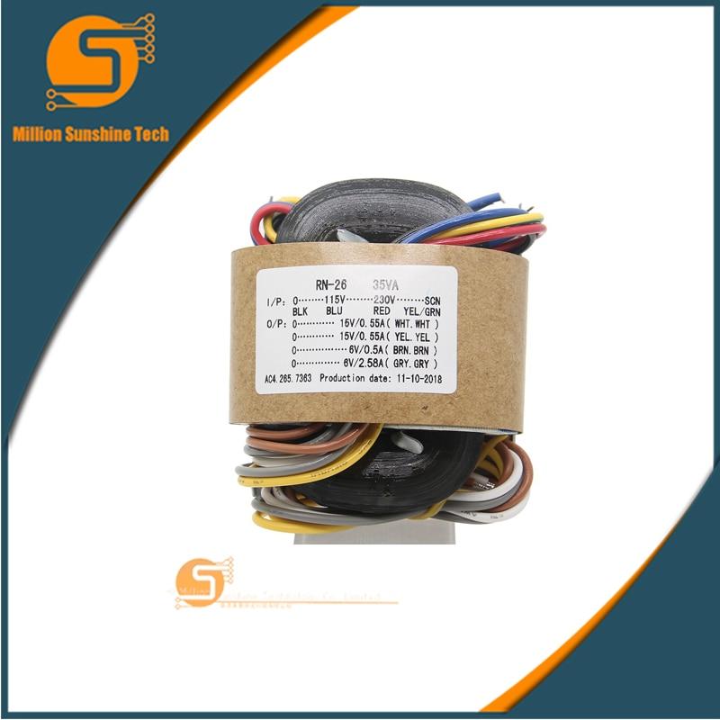 Earnest 35va 15v 6v R-core Transformer, Oxygen-free Copper R Core Transformer For Raspberry Pi X10 / X20 Dac Kit Amplifier Power Supply
