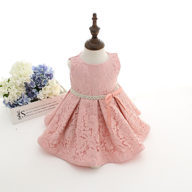 73b232971 Lace Christening Gown For Wedding Gowns Sleeveless Baby Girl Clothes first  communion dresses Pink And Ivory Baptism Dress