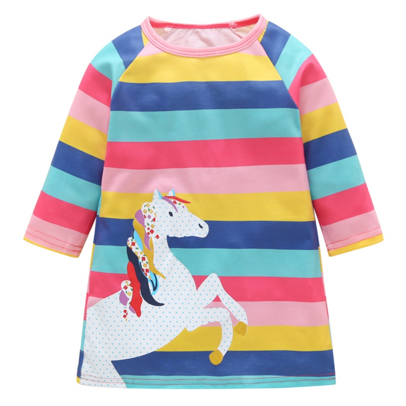 Girls Dress Pony Autumn Clothing Rainbow Printed Cartoon Casual Children's Pure-Cotton