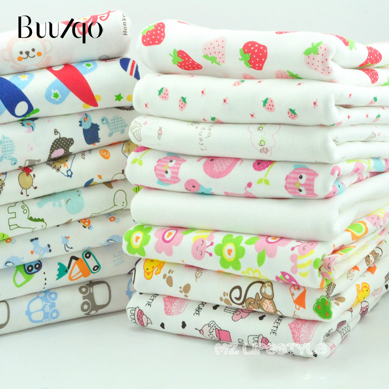 Buulqo Printed cartoon cotton knitted fabric by half meter cotton jersey fabric for baby clothing making 50x170cm in Fabric from Home Garden