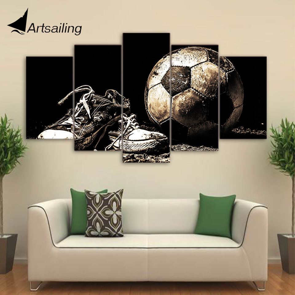 Home Decor Pictures: HD Printed 5 Piece Canvas Art Soccer Shoes Painting Wall