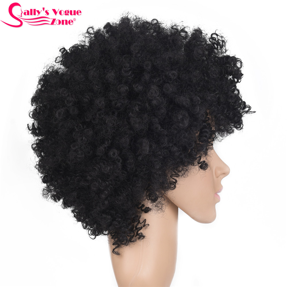 Sallyhair High Temperature Black Afro Synthetic Wigs Kinky Curly Natural Black Color Short Synthetic America Wig Average Size