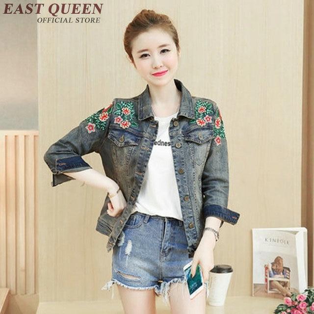 Embroidered denim jacket women embroidered jean jackets ladies denim jackets  KK1508 H