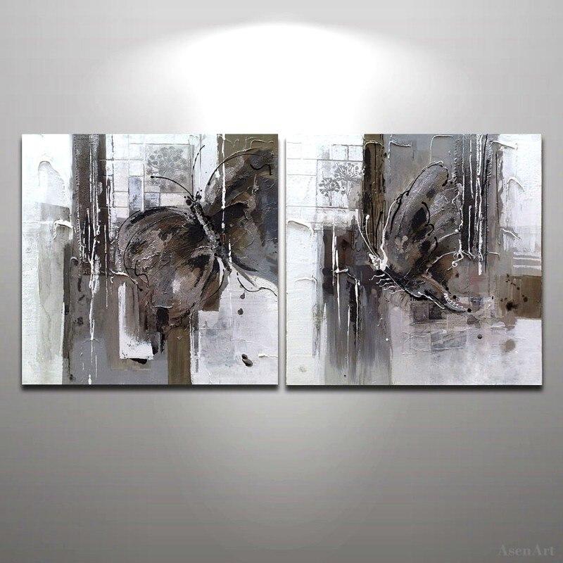 Papillon abstrait moderne peint à la main peinture à l'huile maison mur décoration Art peinture à l'huile 2 panneau toile Art mur photo