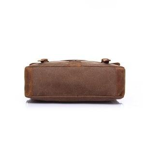 Image 5 - Augur nova moda masculina do vintage bolsa de couro genuíno bolsa de ombro saco do mensageiro portátil maleta mochila caber 14 polegada portátil