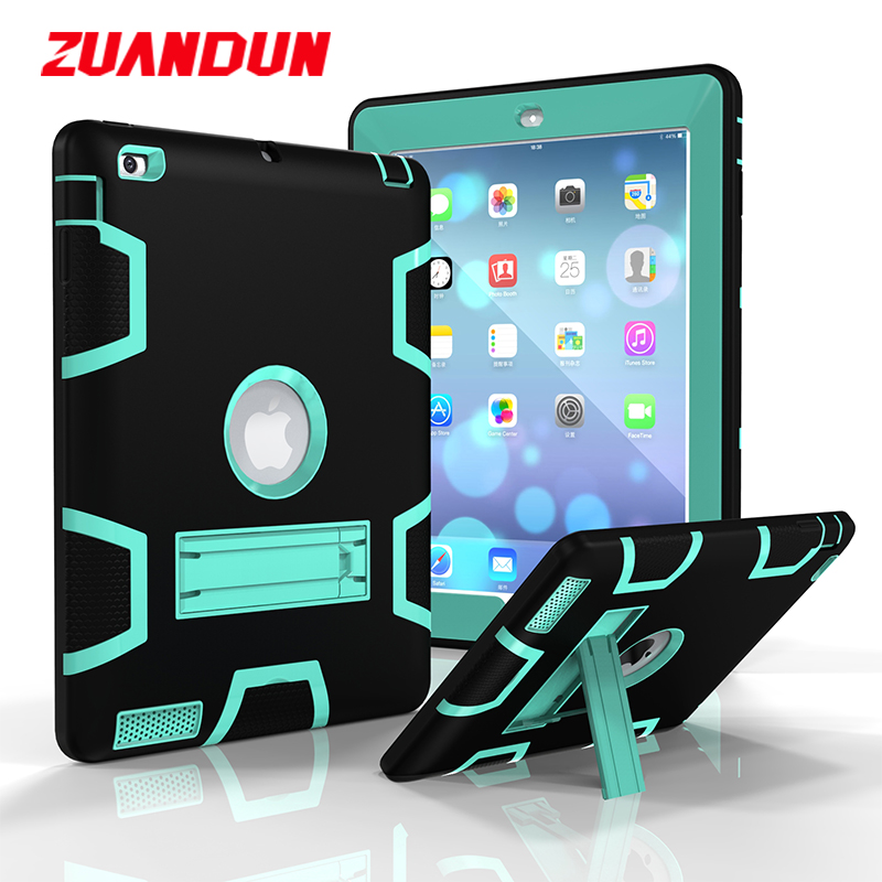 ZUANDUN Full Body Shockproof Case For iPad Air 1 Kickstand Cover Hybrid Rubber Armor Case For iPad Air Silicon TPU Tablets Cases for ipad mini4 cover high quality soft tpu rubber back case for ipad mini 4 silicone back cover semi transparent case shell skin
