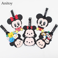 Mickey Mouse & Minnie Mouse creative silicone Mikey luggage tag Kids pendants minnie mouse luggage tags Girls hang tags  KT2696