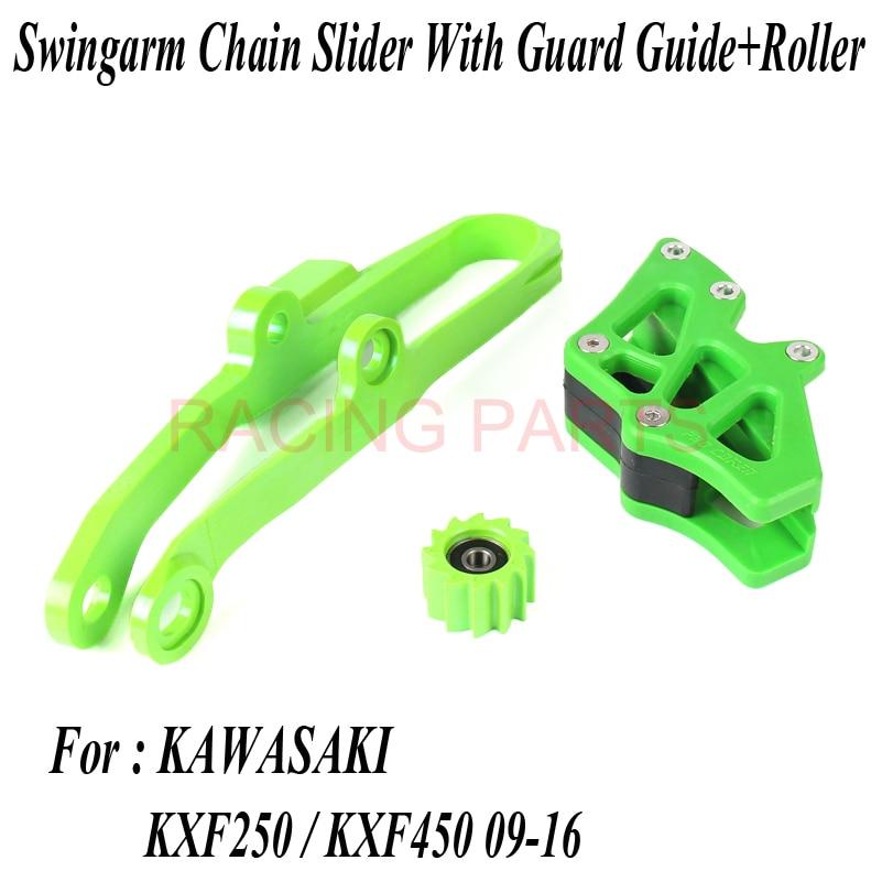KXF Swingarm Chain Slider With Guard Guide Roller Fit KX250F KX450F 09 16 Dirt Bike Off