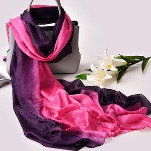 Image 5 - 2020 Luxury Brand Real Silk Women Scarf fashion Soft silk kerchief Female Shawl Foulard Beach cover ups wraps Silk Bandana Hijab