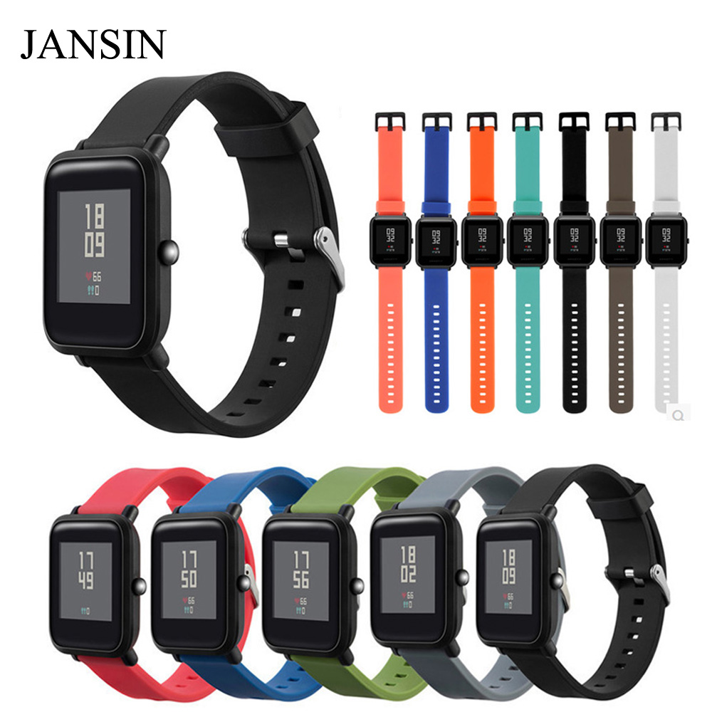 JANSIN Silicone Strap for Xiaomi Huami Amazfit Bip BIT PACE Lite Youth Smart Watch Multiple Color Bracelet watch band 3in1 metal strap double color band for original xiaomi huami amazfit bip bit pace lite youth smart watch screen protector film